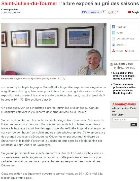 Midi Libre St Julien du Tournel - 21/05/2012