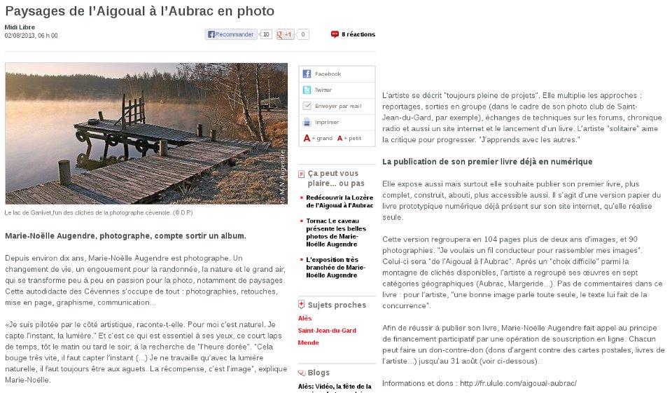 Midi Libre St Jean du Gard - 02/08/2013